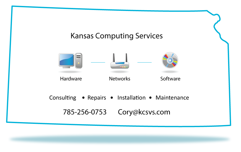 "Kansas Computing Services, 785-256-5918 (Topeka) and 913-660-9554 (Kansas City), providing a wide range of hardware, networking, and software consulting, installation, and repair services to businesses and residents in all of Kansas and western Missouri, parts of and now Texas!  Located in Topeka, Kansas.  About Us:  Kansas Computing Services is owned by Cory Zipperle, a 25-year veteran in the computing industry.  He has a wide array of experience with all kinds of computer hardware, software, and networking devices and methods.  He has worked on everything from the common household computer to the robust business workstations  and small business and enterprise class servers.  Please browse our site to learn more about how e can help you with hardware, software, and network solutions, including:  Website and Email Hosting: - Our servers boast 99.9% guaranteed up-time an unparalleled spam filtering by SpamSoap.  You'll rarely have to deal with that silly ""[spam]"" tag that is so commonly found in today's ""spam filtering"" products.  Instead, you'll get a single email each day with a very short list of questionable items that you can either release into your mailbox or delete.  Our web hosting and spam cleaning will ensure that this headache all but vanishes.  Recycling: If you have a computer or computer hardware that you would like to dispose of, please call us!  We pickup and provide safe recycling services for your unwanted computer equipment including monitors, mice, keyboards, printers, and anything else you can think of.  Every computer will have its hard drive removed and erased using standards that conform to Bruce Schneier's algorithm, Canadian OPS-II, DoD 5220.00 M, Gutmann's Algorithm, German VSITR, HMG IS5 Baseline, HMG IS5 Enhanced, Navso P-5329-26 (RL) Navso P-5329-26 (MFM) NCSC-TG-025, Russian GOST p50739-95, US Army AR380-19, US Air Force 5020, the One-pass Zeros method and the One-pass random characters method ensuring that your data is never seen again.  After all your data is cleared, your old equipment will be turned over to a professional recycling company.  Hardware:  With so many options to choose from, knowing what to buy can be a daunting task.  Will a cheap computer work, or will you benefit from a more expensive and  powerful machine?  How do you know that the company you are buying from has a good reputation?  Kansas Computing Services works with a wide array of computer and computer part vendors ensuring that we'll help you make the best decisions to help you reach your goals.  Unlike most companies that are obligated to sell only the products that they have in stock or those that they are contracted to sell, we only promote the products that have a long track record of good customer support and good product reliability.  If you already have preferred vendors, we are perfectly willing to work with them.  There's no need to change if you don't want to.  When you hire Kansas Computing service for your home or business, you can count on us to conduct a detailed assessment of your needs and even ask questions that you might not have thought of yourself.  This will help us ensure that you have the right computer for your software, your budget, and your personality.   Networks:  These days, networks are almost commodities.  Just about every house has some kind of network, and even if you have just one computer connected to the Internet, you have network.  As common as they are, and as easy as they can be to set up and use, sometimes networks can misbehave.  Even worse, improper setup can attract visitors who don't have your best interests at heart - including those who would sell your most private information to the highest bidder.  Additionally, networks that are poorly setup can contribute to extra downtime where you can't use your computer(s) and reduce productivity.  My goal with every network installation is to minimize the risk of downtime and maximize speed with the clever use of hardware, vitalization, and planning. Proper installation can easily reduce to a few minute the amount of downtime that used to last for hours.  Rates:  Labor: All computer networking and consulting services run $40 per hour.  There is a two hour minimum for every job.  For Topeka and Shawnee county businesses and residents, the clock starts once I am on site.  For everybody else, the clock starts when I depart for your location.  For emergencies (Gotta have it fixed NOW!) the rate is double time.  I will always tell you if a job that will cost double time before arriving to do the work.  Rates and per diems may change for multiple-day projects that require more than an hour or two of drive time.  This will all be negotiated in advance, ensuring that there are no surprises.  Parts: To keep prices down and to ensure access to inventory, I do not stock any parts.  Instead, parts are purchased from local or online vendors on an as needed basis and depending on your budget.  I do not charge extra for parts unless you are paying with a credit card in which there will be a $.50 + 5% fee added to the price of the parts to cover credit card transaction fees.  Whatever I pay for something, you pay too.  Hosting:  I provide a wide range of 99.7% spam free hosting and email services.  Prices vary on the number of email boxes you want and other requirements for your web service.  Please contact me to discuss your hosting needs.  Recycling:  Recycling rates are $10 for each computer or computer peripheral and $25 for each computer monitor.  All recycling pickups have a $20 minimum charge.  ALL data will be destroyed according to Bruce Schneier's algorithm, Canadian OPS-II, DoD 5220.00 M, Gutmann's Algorithm, German VSITR, HMG IS5 Baseline, HMG IS5 Enhanced, Navso P-5329-26 (RL) Navso P-5329-26 (MFM) NCSC-TG-025, Russian GOST p50739-95, US Army AR380-19, US Air Force 5020, the One-pass Zeros method and the One-pass random characters method before turning the computer over to a professional recycling facility.  Software:  Hardware may be the core of what drives your computing experience, but software is what we interact with each time we use our computers.  Sadly, software can be more difficult to manage than the hardware.  Even with the most perfect hardware, software doesn't always like to play nice.  In fact, most of the problems in nay computer comes down to poor software management and configuration.  We have extensive experience in working with various types of software including specialized medical databases such as PodMED and Avimark, several different accounting packages such as Quickbooks and Bureau of National Affairs' document software, church data  bases products such as Servant Keeper by Servant PC Resources and ACS by ACS Technologies.  We also have extensive experience with all the Microsoft operating system platforms both for workstations and servers, Linux operating systems such as Ubuntu desktop and server, Debian, and Fedora Core.  Then there are the common applications like everything in Microsoft Office, Open Office, and Google Docs, various email applications such as Thunderbird, Outlook express, and Outlook."